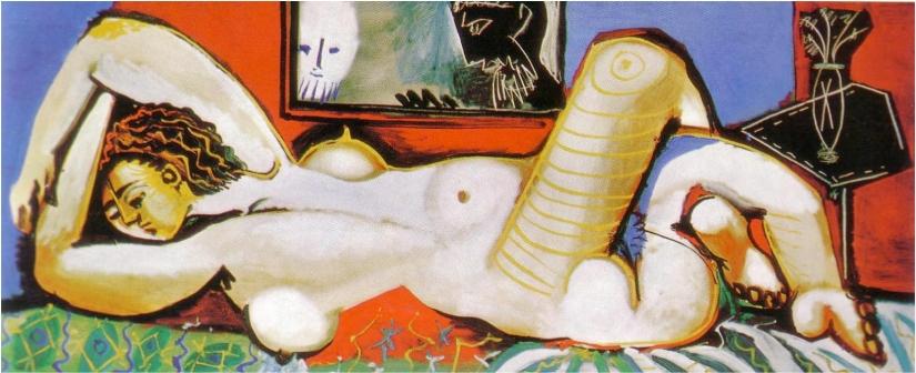 Femme-nue-allongée-Les-voyeurs-Grand-nu-allongé-Nice-24-Aout1955-huile-sur-toile-80-x-192-cm-coll.-privée